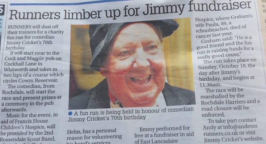 Jimmy Cricket's forthcoming fun run featured in the Rossendale Free Press