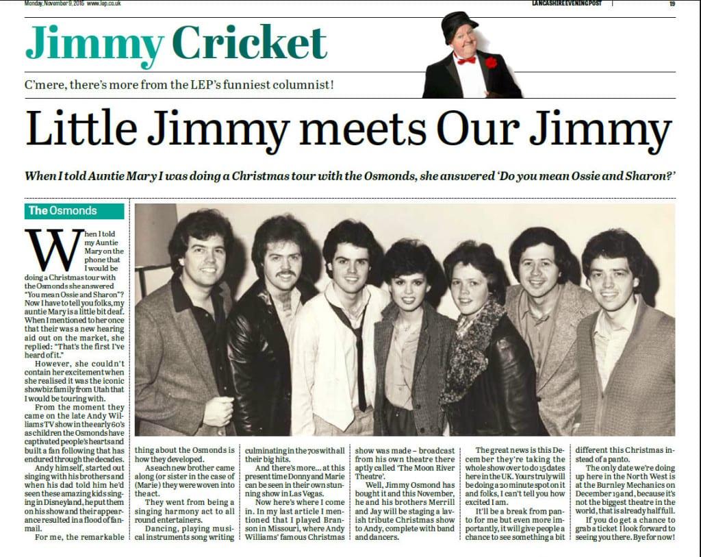 Lancashire Evening Post Jimmy Cricket column