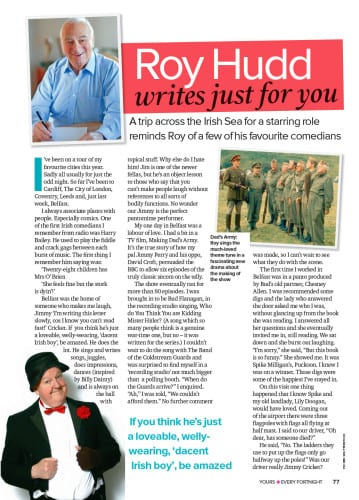 Jimmy Cricket featured in Roy Hudd's column in Yours magazine