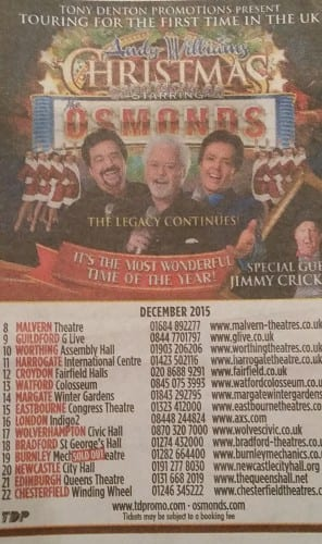 Jimmy Cricket will be teaming up with the world-famous Osmonds for a special Christmas tour
