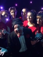 Jimmy Cricket with the young dancers