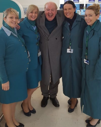 Jimmy Cricket with Aer Lingus Air stewardesses