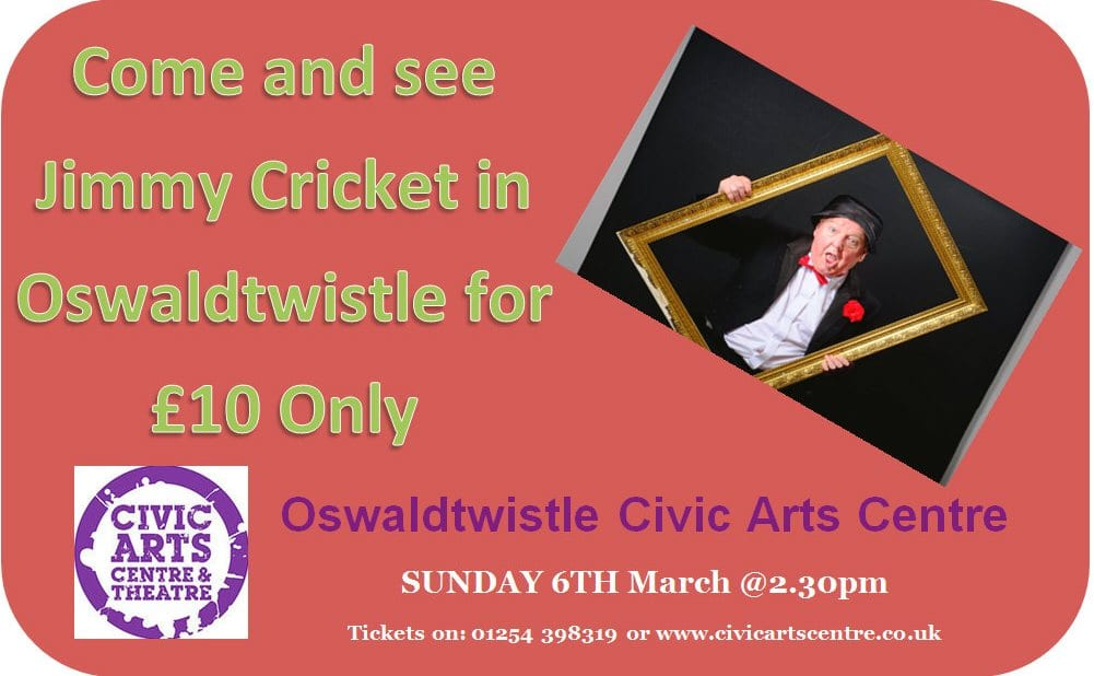 Jimmy Cricket is returning to the Oswaldtwistle Arts Centre and Theatre