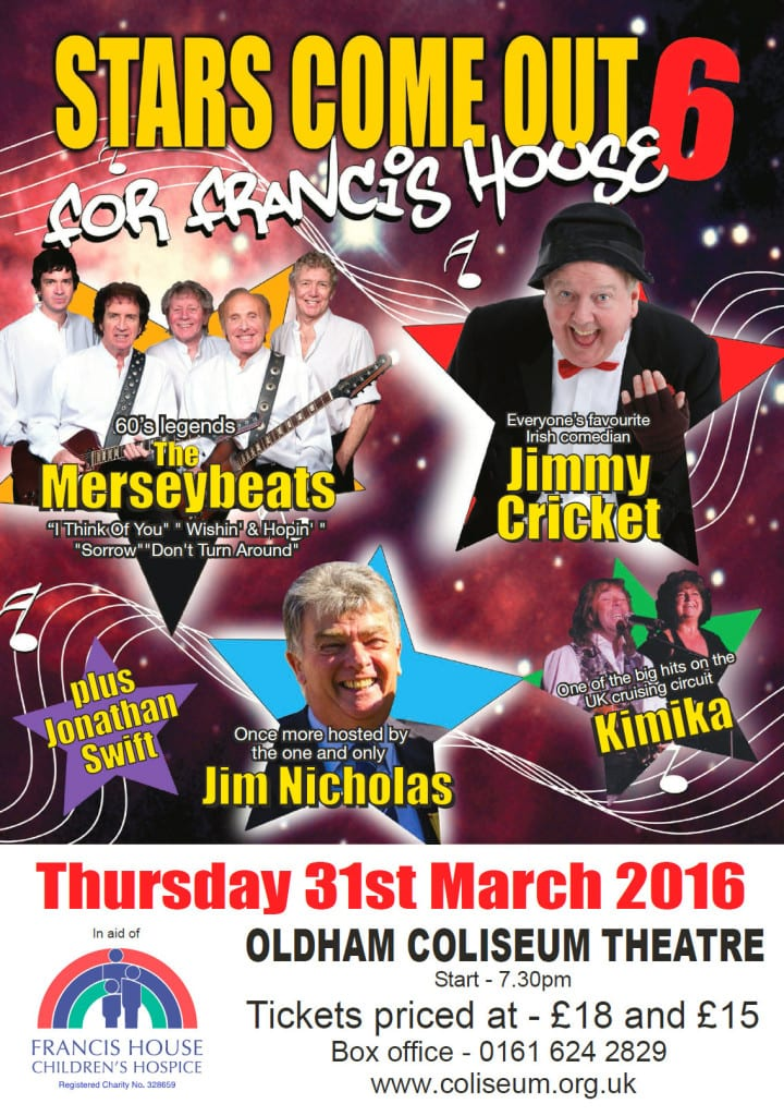 Stars come out for Francis House 6 will be at the Oldham Coliseum on 31 March 2016