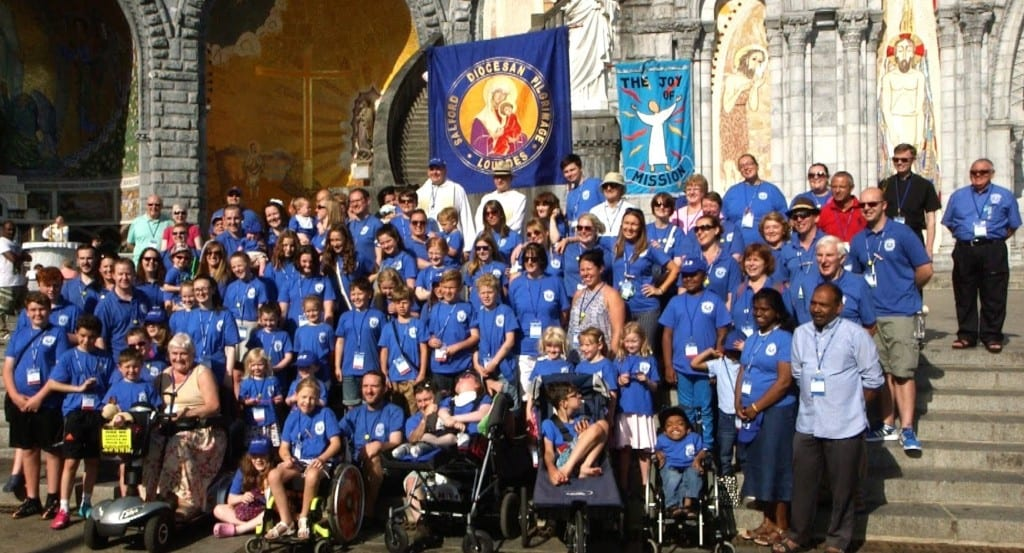 Sick children on a pilgrimage with the Catholic Church to Lourdes