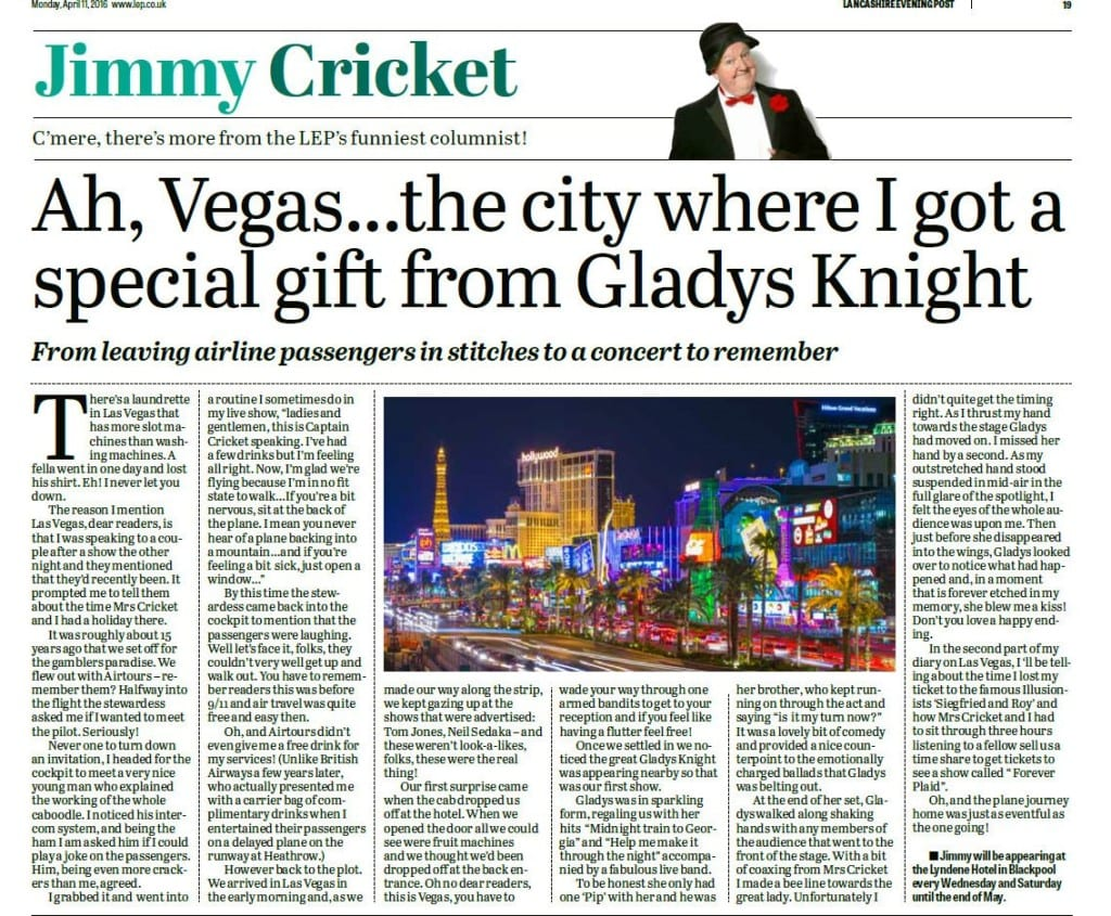 Jimmy Cricket's Lancashire Evening Post column