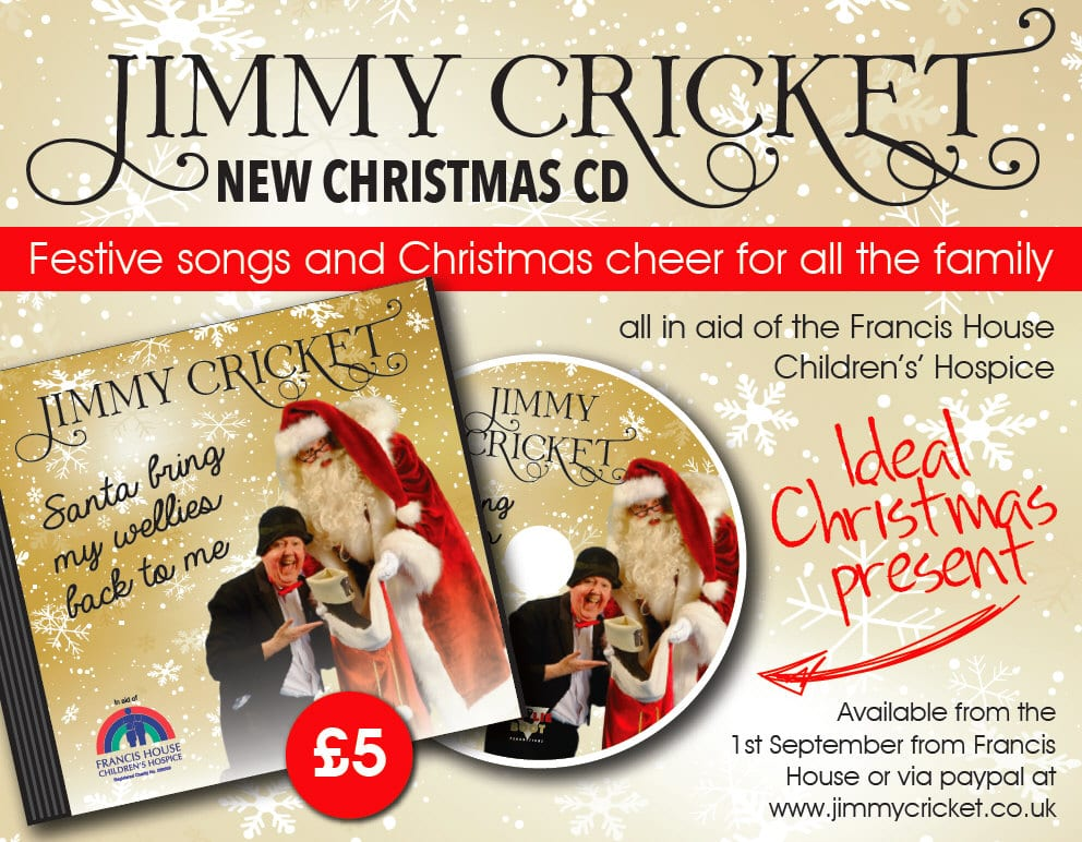 Jimmy Cricket's Christmas CD will be called Santa bring my wellies back to me