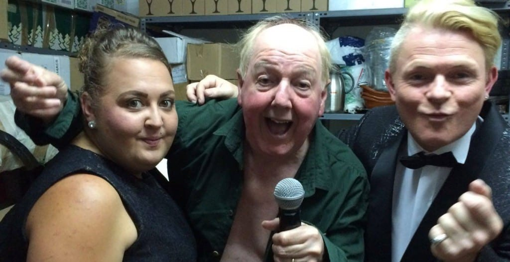 Jimmy Cricket with Spanish-based British entertainer Stevie Spit and female vocalist Kylie Burgazzi