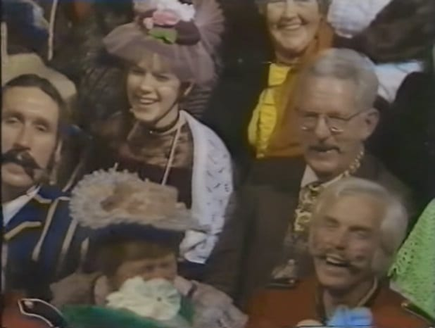 The audience dressed in period costume for the Good Old Days programme at the City Varieties Music Hall in Leeds