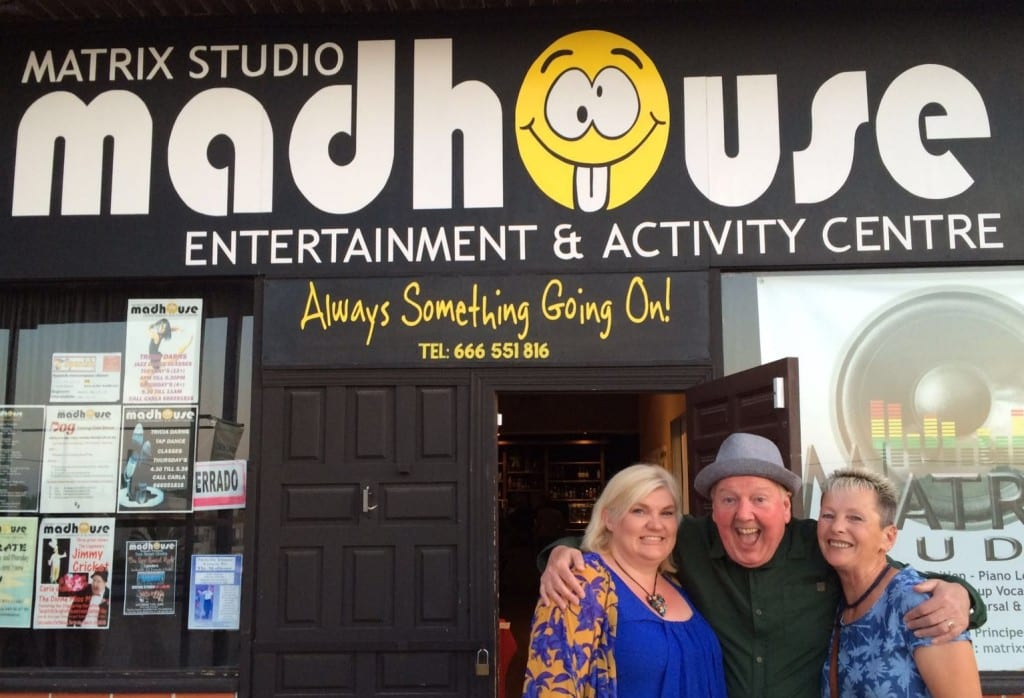 Jimmy Cricket and friends outside the Madhouse in Spain