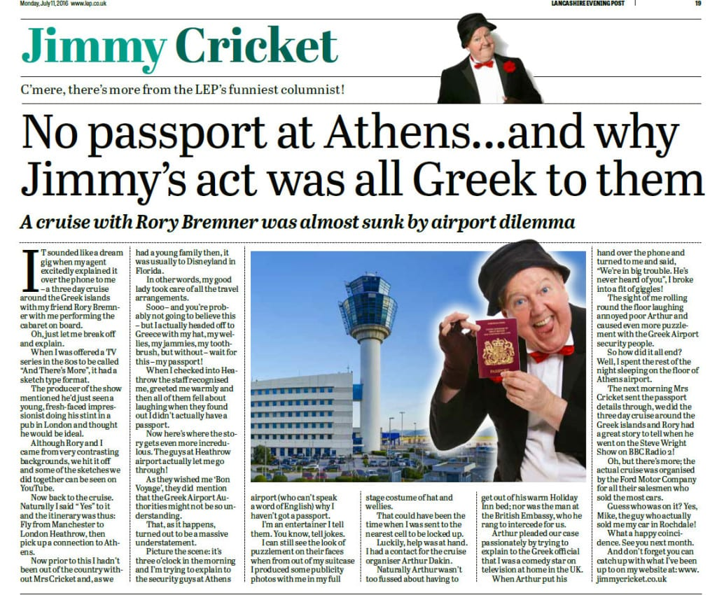 Jimmy Cricket's column in the Preston-based Lancashire Evening Post