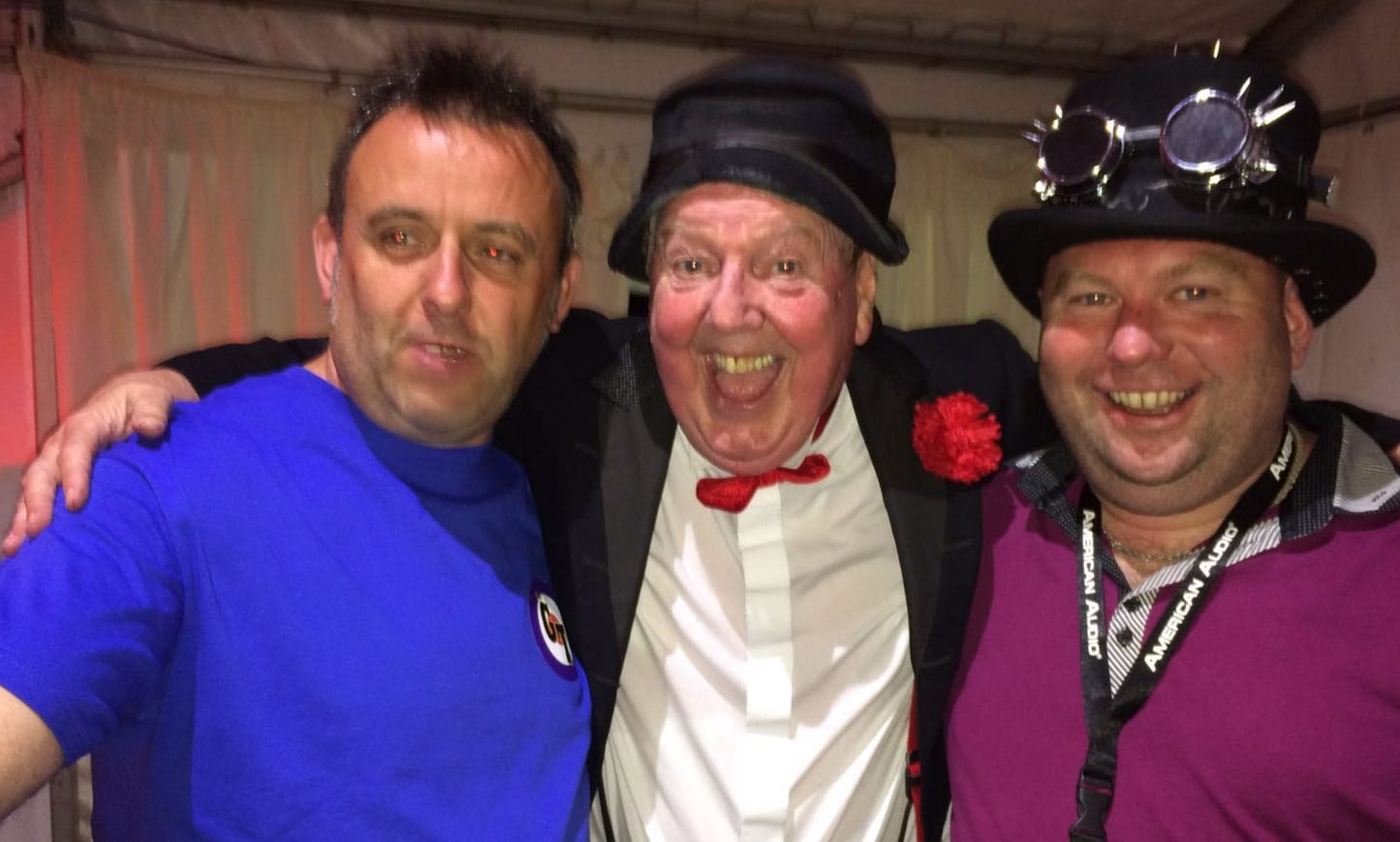 Jimmy Cricket with Sunshine Festival organisers Spencer & Phil