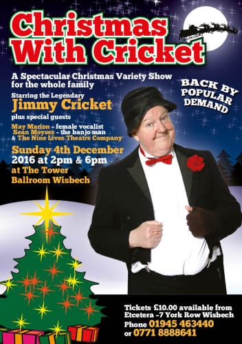 Jimmy Cricket will be appearing in The Tower Ballroom in Wisbech on 4 December