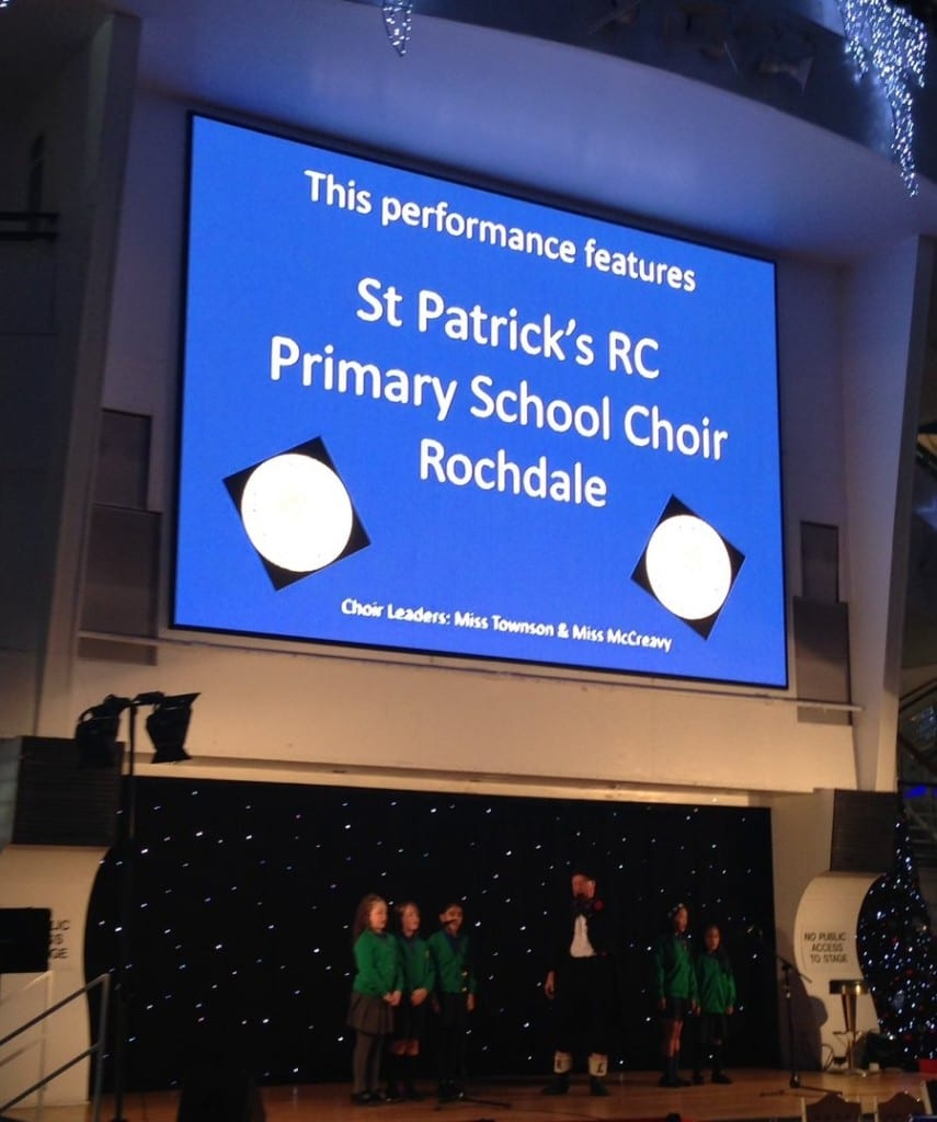 Jimmy Cricket with the St Patrick's RC school choir