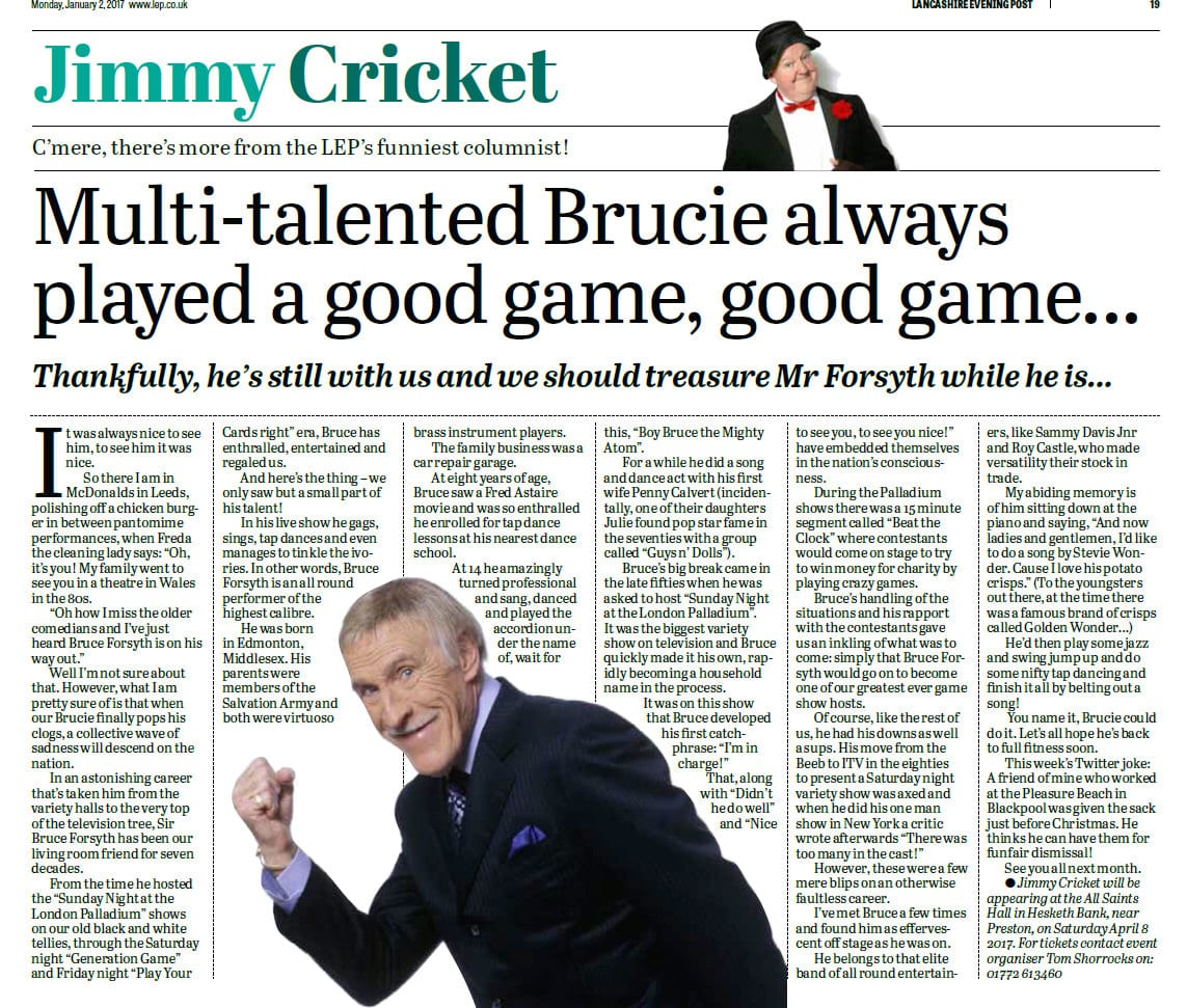 Jimmy Cricket's January column in the Lancashire Evening Post