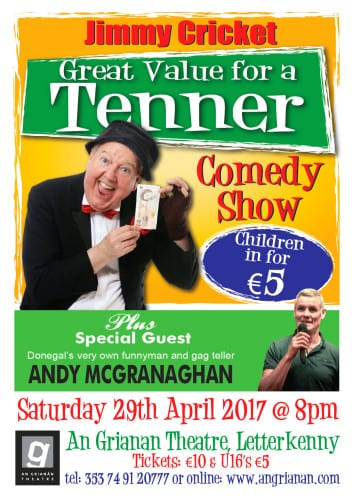 Jimmy Cricket will appear in Donegal on April