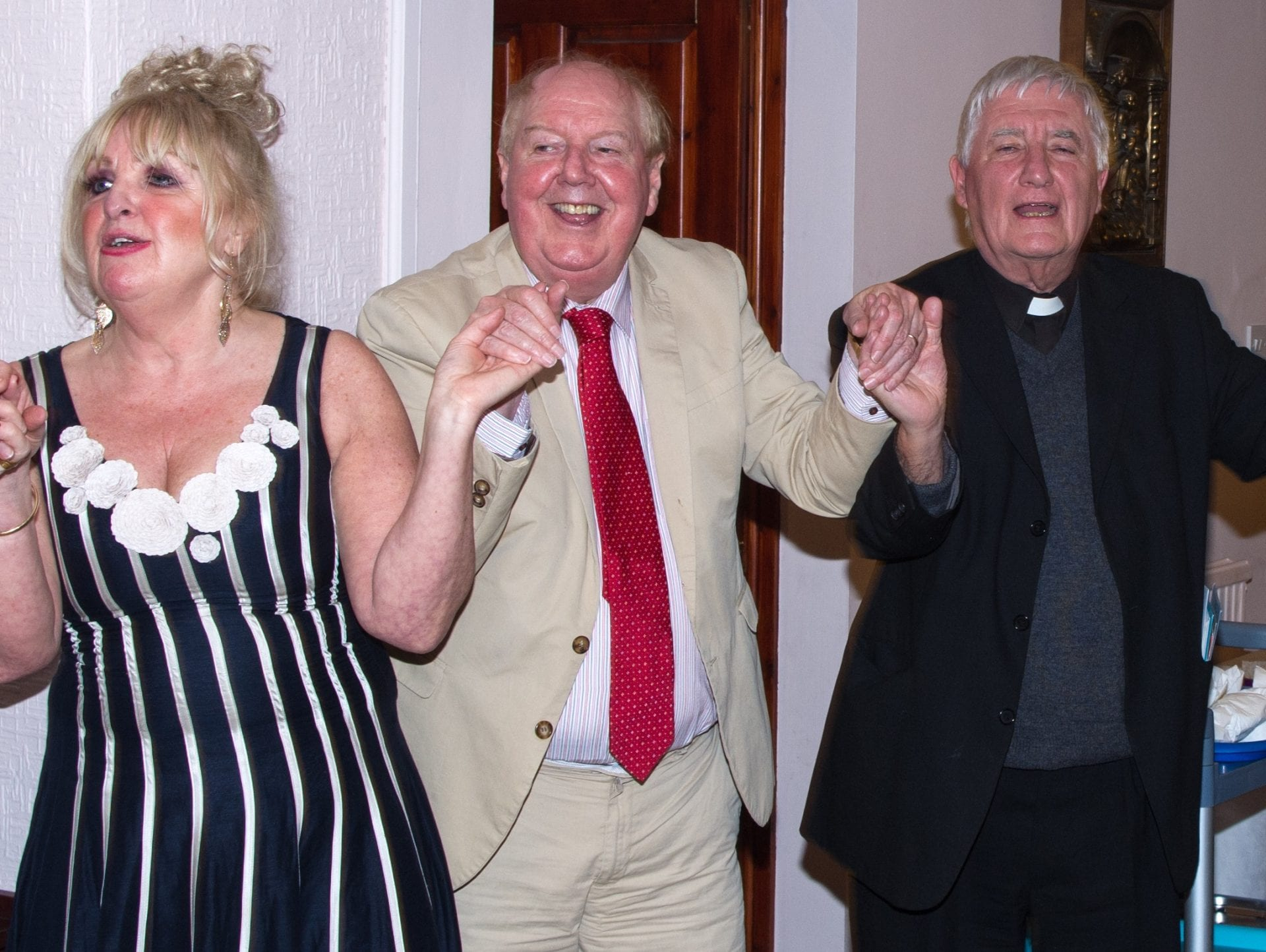 Jimmy Cricket with wife May and Fr David Lupton