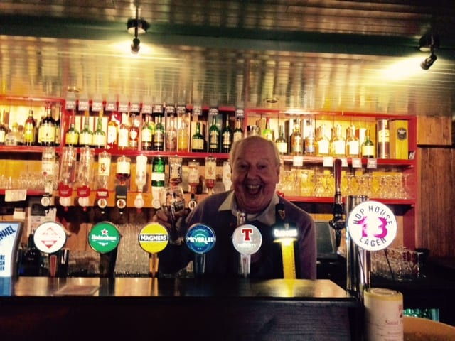 Jimmy Cricket behind the bar!