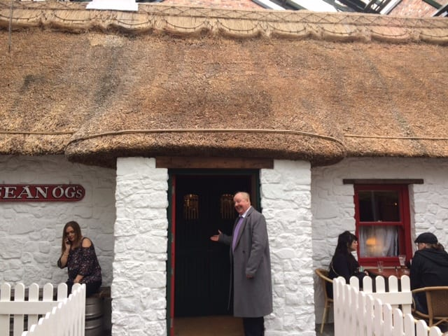 Jimmy Cricket outside the thatched pub in Omagh