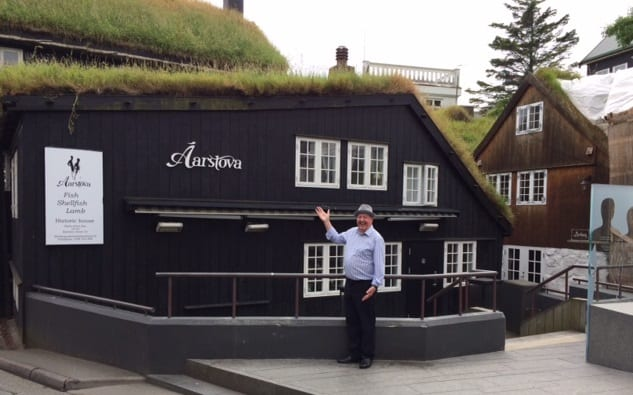 Jimmy Cricket outside the Aarstova restaurant on the Faroe Islands