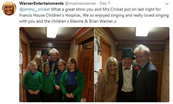 Warner Entertainments posted their thanks to Jimmy on Twitter