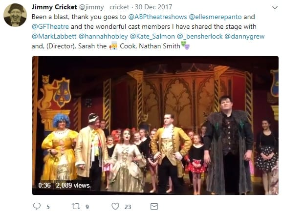 Jimmy Cricket tweeted he was thrilled in appear in a pantomime in his adopted hometown of Rochdale