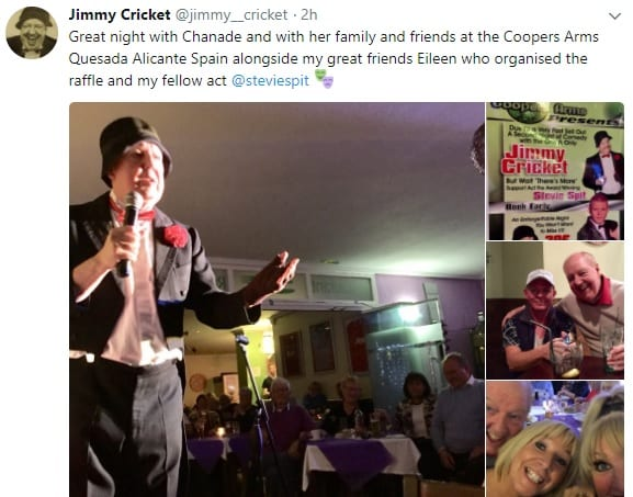 Jimmy Cricket performed at the Coopers Arms in the town of Ciudad Quesada, near Alicante.