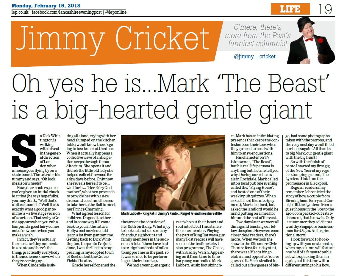 Jimmy Cricket's February column in the Lancashire Evening Post was about Mark'The Beast' Labbett from ITV's The Chase