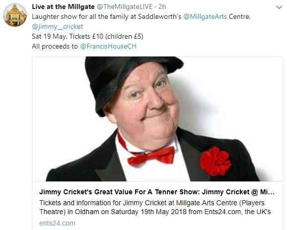 Jimmy Cricket is appearing at Saddleworth's @MillgateArts Centre