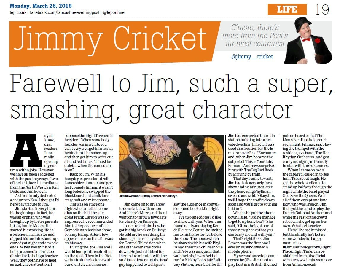 Jimmy Cricket paid tribute to Jim Bowen in the Lancashire Evening Post
