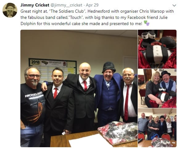 "Jimmy Cricket posted on Facebook: ""Big thanks to my Facebook friend Julie Dolphin for this wonderful cake she made and presented to me"""