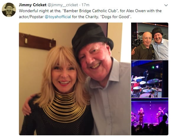 Jimmy Cricket appeared with Toyah Willcox at Bamber Bridge Catholic Club