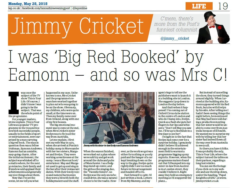 Jimmy Cricket's May column in the Lancashire Evening Post