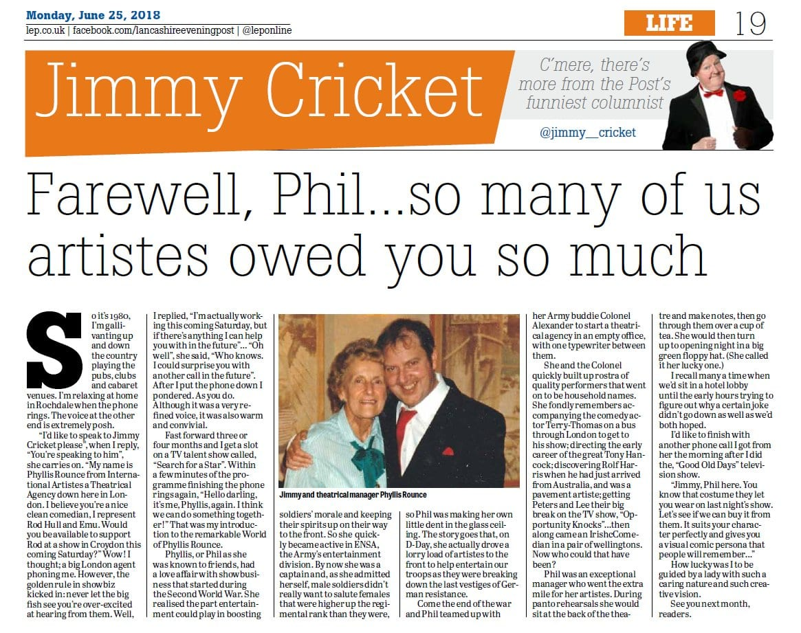 Jimmy Cricket's June column in the Lancashire Evening Post