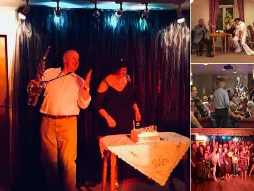 "Great night celebrating Carolyn Topham's, ""Special Birthday"", @TheBrassBandClub Clitheroe with family and friends and with my thanks to fellow act Jim Nicholas for his Elvis impersonation!"