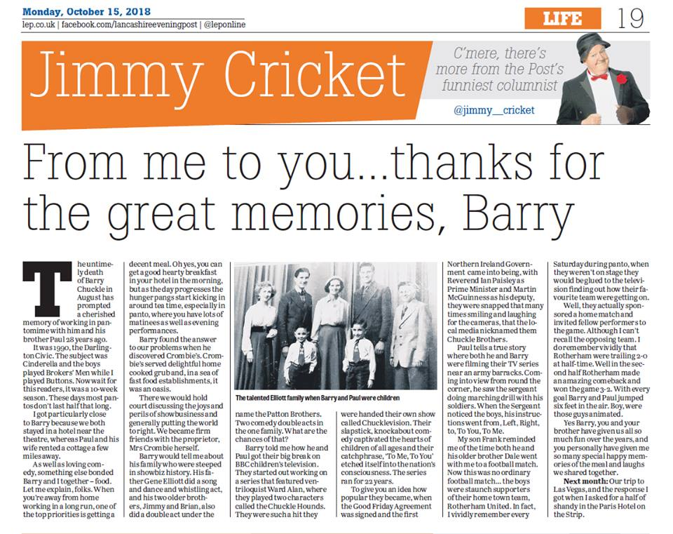 Jimmy remembers the late Barry Chuckle in his October column in the Lancashire Post