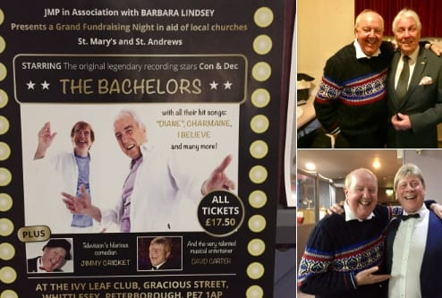 """Always a pleasure working for showbiz Legend and friend, Mr Johnny Manns, (in conjunction with Barbara Lindsey), alongside my other friend and musical arranger David Carter, with fellow pro's Con and Dec, """"The Bachelors"""" tonight at the Ivy Leaf Club!"""