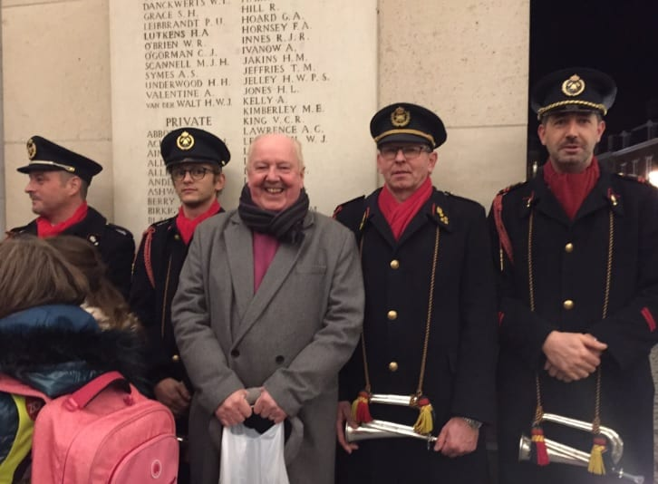 "Here attending, ""The Last Post at the Menin Gate"", tribute to all those who lost their lives in the 155 war cemeteries which now surround modern-day Ypres!"