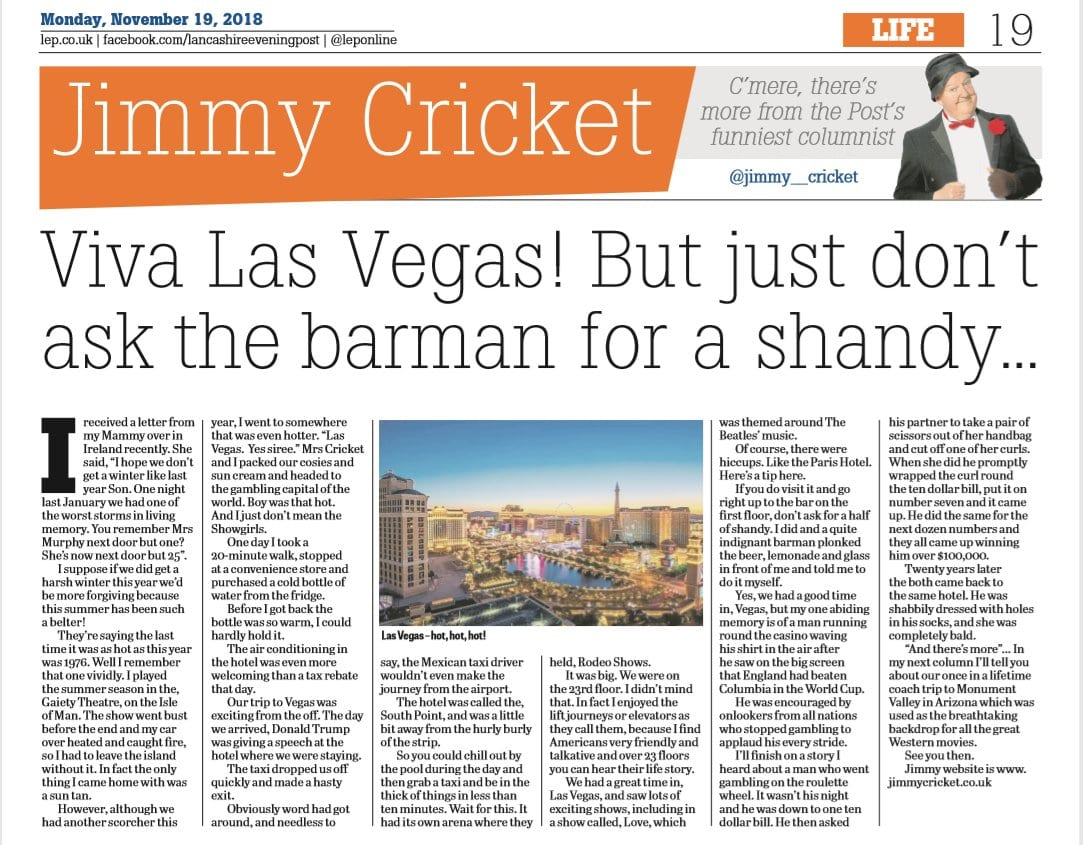 Jimmy Cricket reflects on his holiday in the United States earlier this year in his latest newspaper column - and suggest not asking for a shandy in Las Vegas