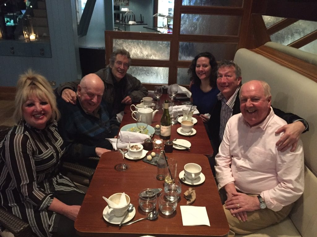 Lovely meeting up with old friends Producer and Author @ChrisGidney and Katherine his wife, alongside Ronnie, and actor Frank Williams, (Rev Farthing in Dad's Army), after the @SlapstickFest in @BristolDoyle Hotel last night 🎭
