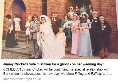 Jimmy Cricket's wife mistaken for a ghost - on her wedding day!