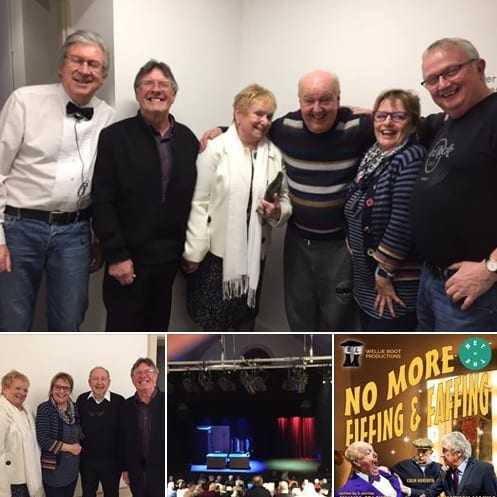 Thank you to all the staff at the #TheMet in Bury for yesterday's production alongside our set designer #KenWilkinson and to all our family and friends, (alongside the little pocket rocket actress #SueDevaney), and the general public who came to see the show. Pictured here backstage with fellow thespians #JonathonYoung and #ColinMeredith and a great friend actress and director #NorrenKershaw whom I worked with on two series for Central Television and on five series for #BBCRadio2