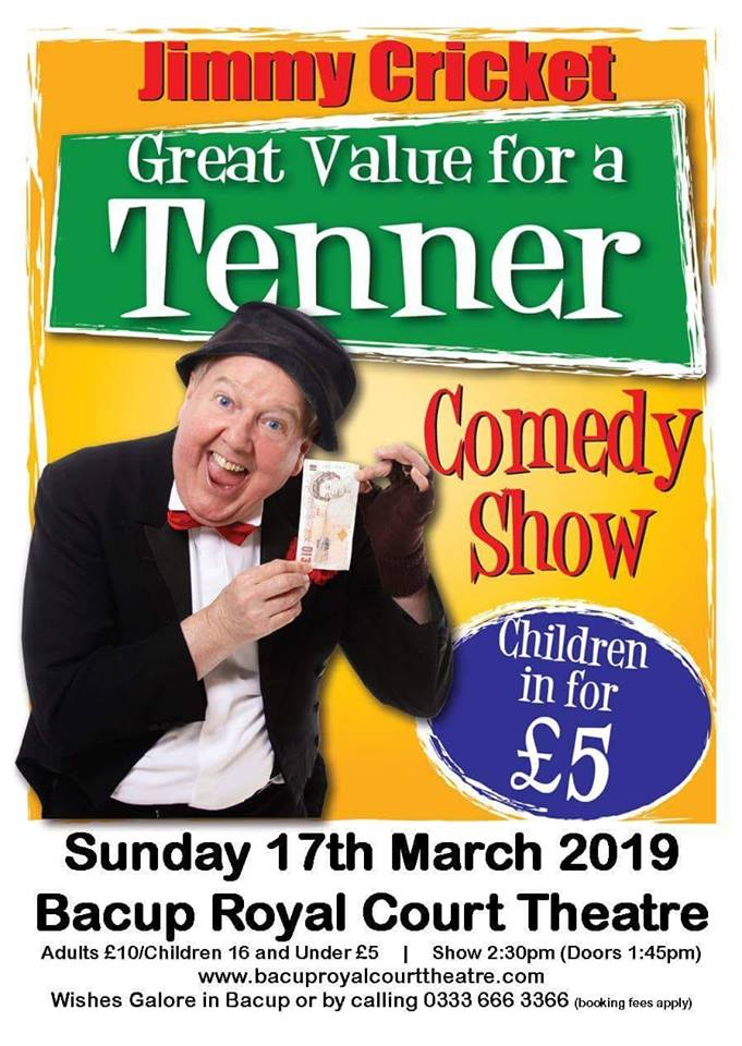 JUST £10 FOR ADULTS/£5 FOR CHILDREN Jimmy Cricket - Great Value for a Tenner Comedy Show Featuring Dancers from Dansworks Dance Academy of Performing Arts CIC Sunday 17th March 2019 Book Now - www.ticketsource.co.uk/date/489130 Tickets also available from Wishes Galore, Rochdale Road, Bacup. You pay no booking fee at Wishes Galore! #jimmycricket #comedylegend #livecomedy #familyentertainment #rossendale #rossendalevalley