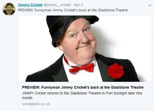 Jimmy Cricket takes his laughter tour to the Gladstone Theatre in Port Sunlight