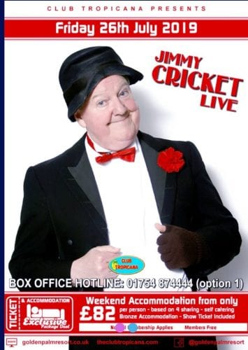 Jimmy Cricket will be performing again at the Club Tropicana in Skegness in July