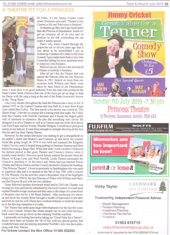 "My thanks to Editor Elaine Bird @hunny_bird for printing my article about the history of the Princess Theatre in that lovely seaside town of Hunstanton, and how it was named after the late, ""Diana Princess of Wales"", whom I had met once while doing a Royal Variety Show!"