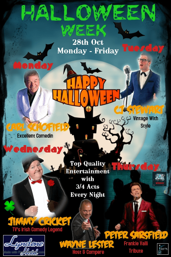 A poster shows Halloween Week at the Lyndene Hotel in Blackpool