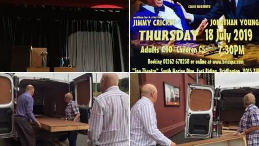Jimmy Cricket tweeted: My thanks to all the staff at the wonderful #SpaTheatreBridlington for tonight, and to all my friends who helped with loading and putting the set together for the performance!