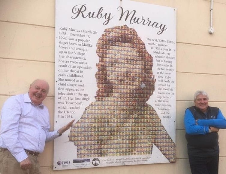 David Hull Promotions 6 September at 16:53 · Before their comedy show in Newry last night. Jimmy Cricket and John Linehan aka May McFettridge's driver stopped by to look at this Ruby Murray Mural on the Donegall Road Belfast.