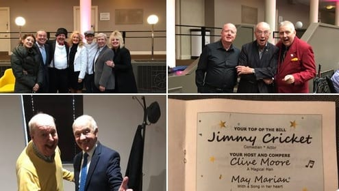 Jimmy Cricket: Fabulous afternoon for the Derby & Nottingham Music Association with compère Clive, Speciality Act @tommyents , with his sister Lucy, singers, Jimmy and Mrs C. with Nigel as our Musical Director, alongside catching up with great friends, Simon, Joanie, Peter and Gail